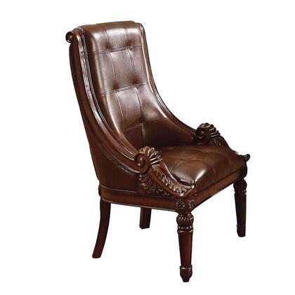 BM191379 Traditional Faux Leather Upholstered Wooden Side Chair with Polyresin Carvings  Brown  Set of