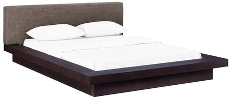 Freja Collection MOD-5721-CAP-BRN-SET Queen Size Platform Bed with Slatted Wood Support System  Reinforcing Center Beam  Laminated Plywood Base and