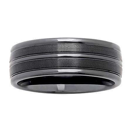 Mens Striped Black Ceramic 8mm Comfort Fit Wedding Band, 14 , No Color Family