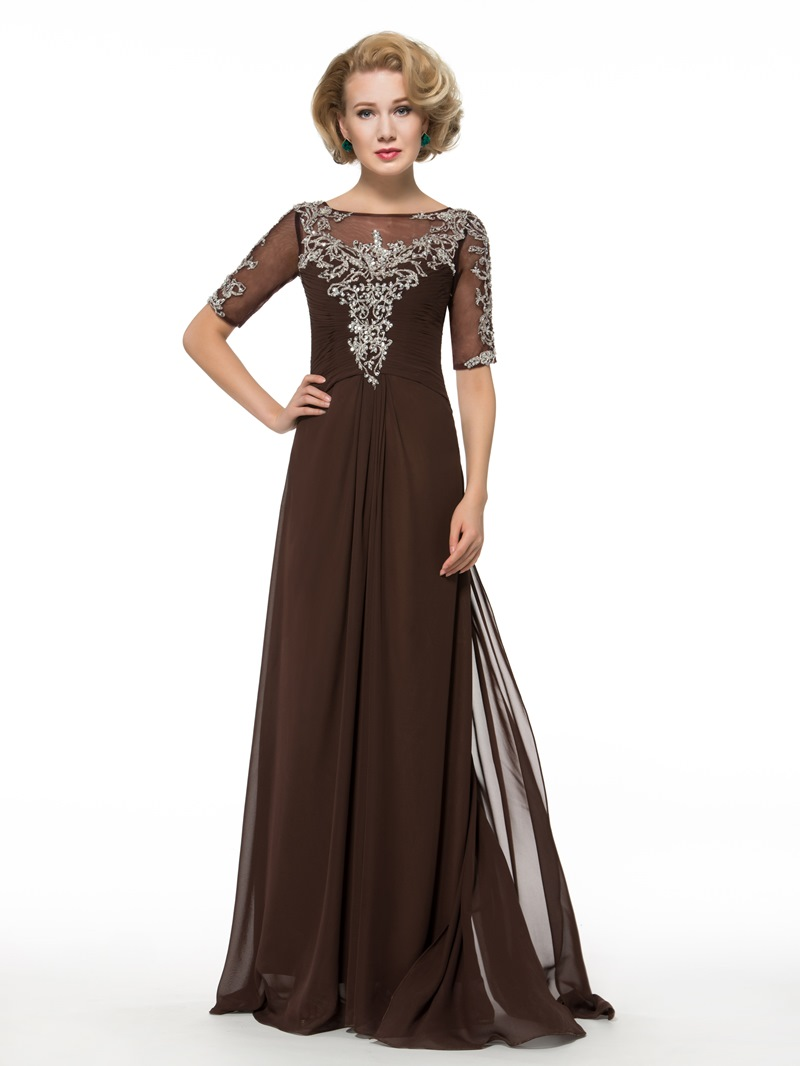 Ericdress A Line Beading Half Sleeves Mother of the Bride Dress
