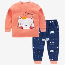 Toddler Girls Letter & Cat Print PJ Set