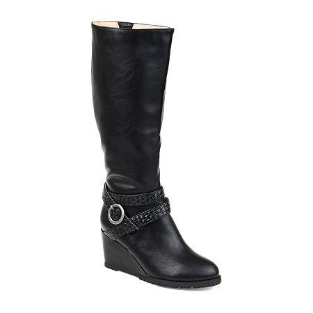 Journee Collection Womens Garin Dress Zip Boots Wedge Heel, 6 Medium, Black