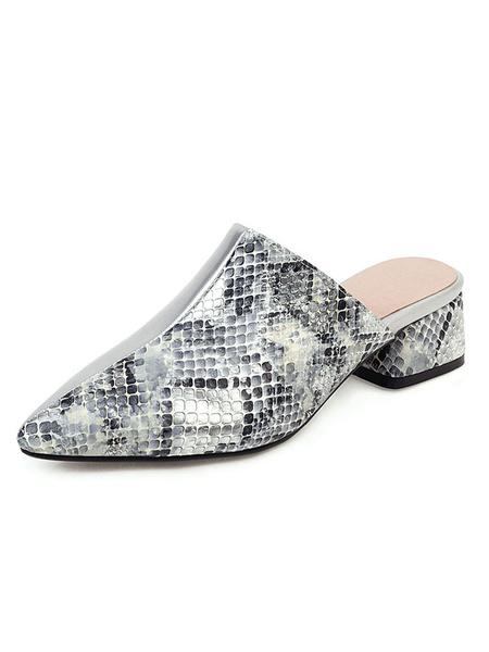 Milanoo Zapatos de mula para mujer Patron de serpiente de punta puntiaguda plateada Slip sin respaldo en mulas