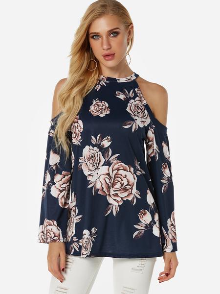 Yoins Navy Random Floral Print Cold Shoulder Long Sleeves Blouse