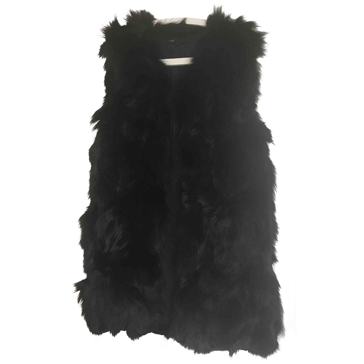 Maje \N Black Fox coat for Women 36 FR