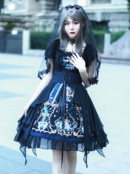 Milanoo Gothic Lolita JSK Dress Black Sleeveless Chains Pearls Lolita Jumper Skirts