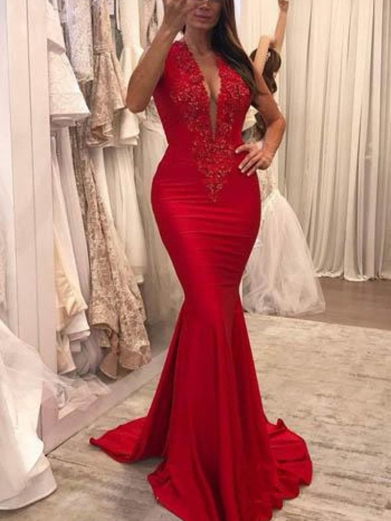 Ericdress V-Neck Applique Mermaid Evening Dress