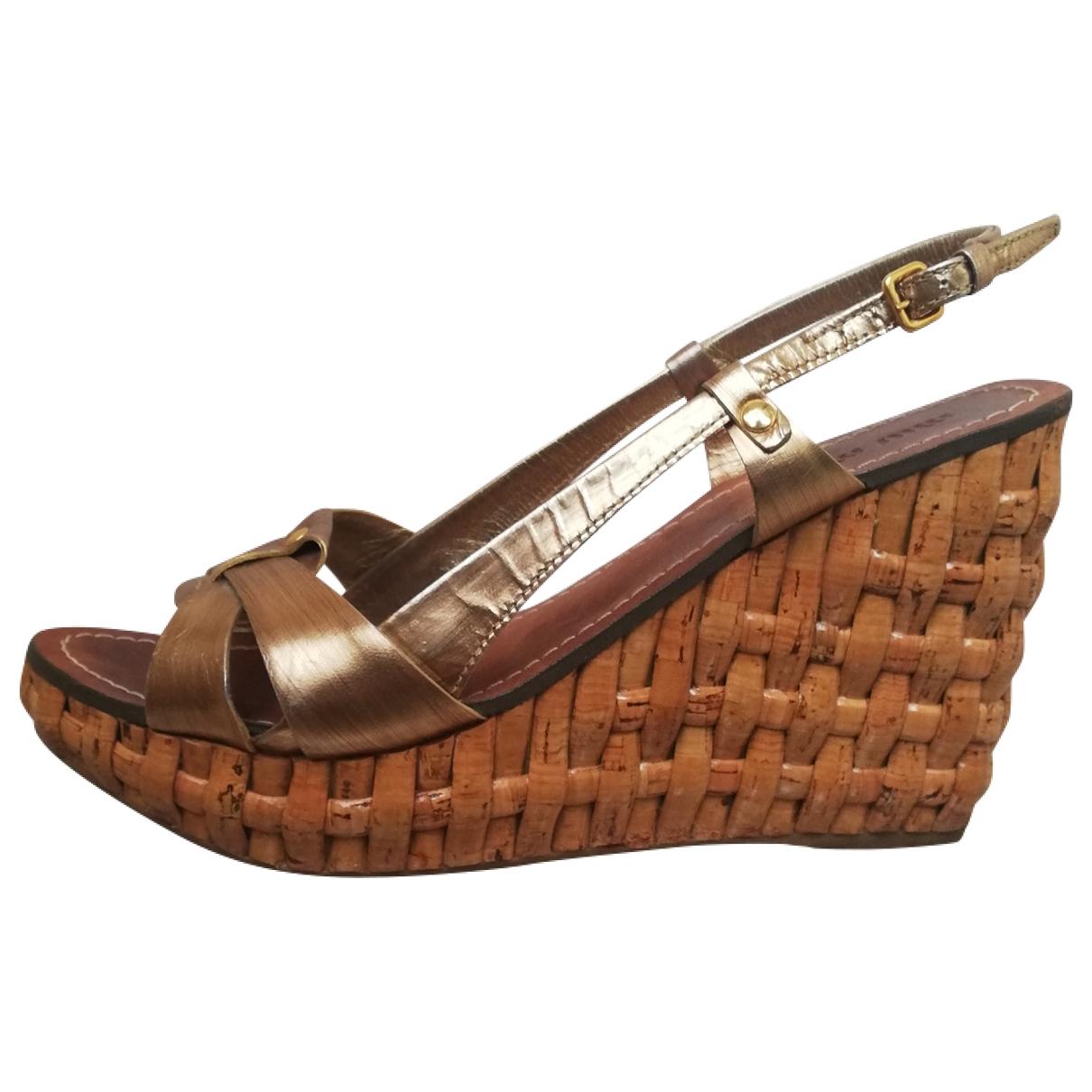 Miu Miu - Sandales   pour femme en cuir - dore