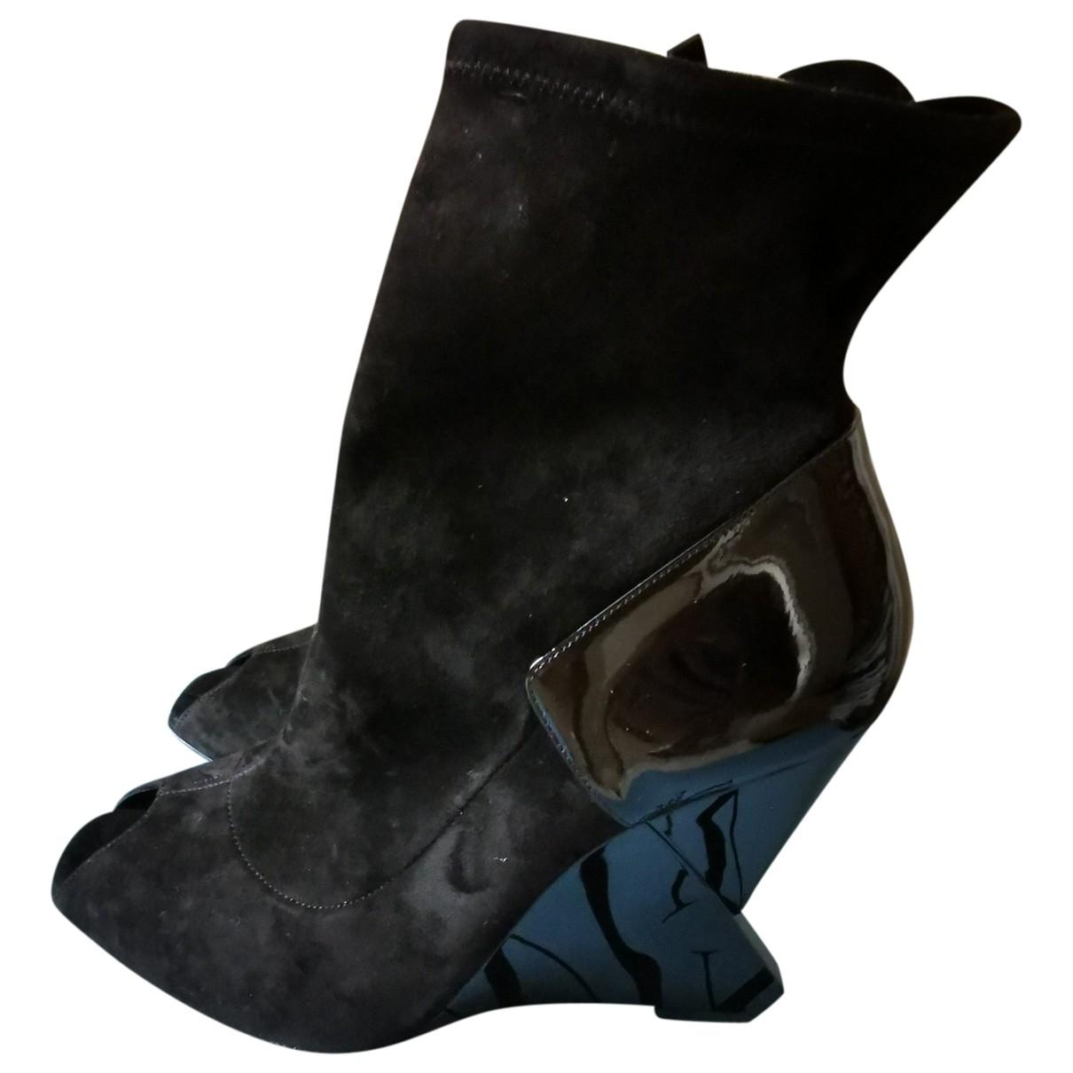 Lanvin \N Black Suede Ankle boots for Women 41 EU