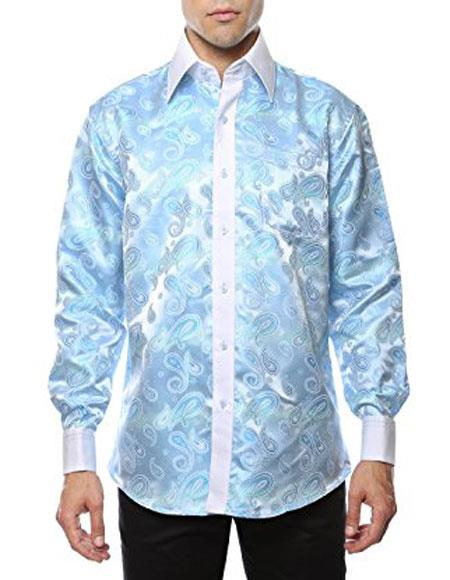 Mens Shiny Satin Floral Spread Collar Paisley Shirt Casual Sky Blue
