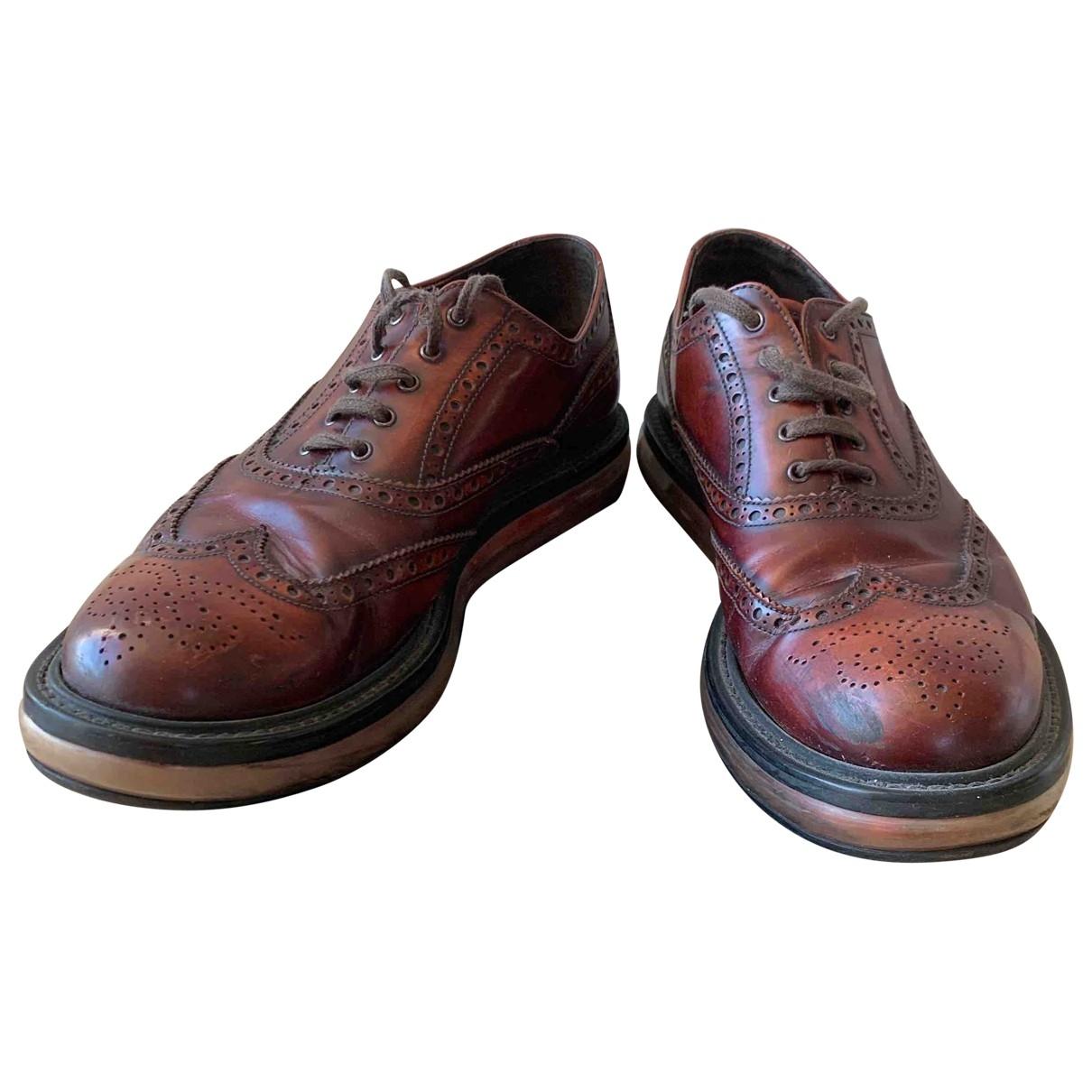 Prada \N Brown Leather Lace ups for Men 10.5 UK