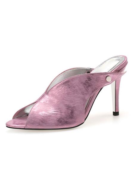 Milanoo Peep Toe Mules Shoes Stiletto Heel Rivets Stiletto PU Women\'s Summer Shoes