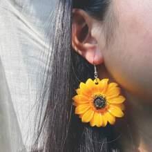 Sunflower Charm Drop Earrings