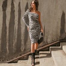 Samt figurbetontes Kleid mit Zebra Streifen und einer Schulter