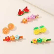 6 piezas clip de pelo con fruta