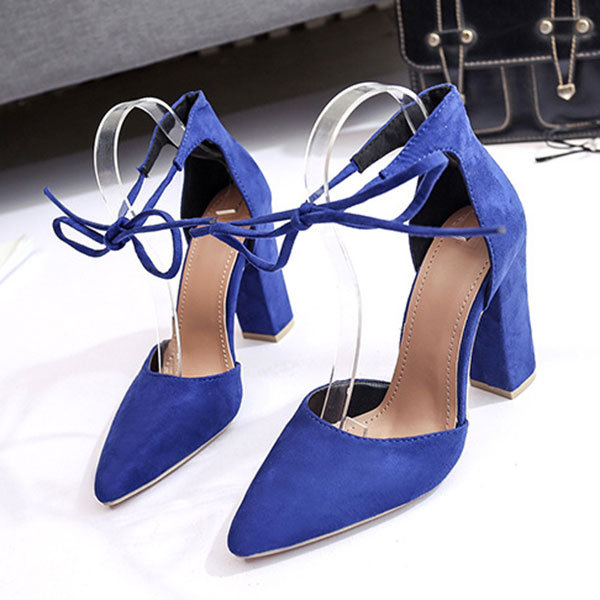 Women Plus Size Suede Pointed Toe Butterfly knot Lace Up Pumps