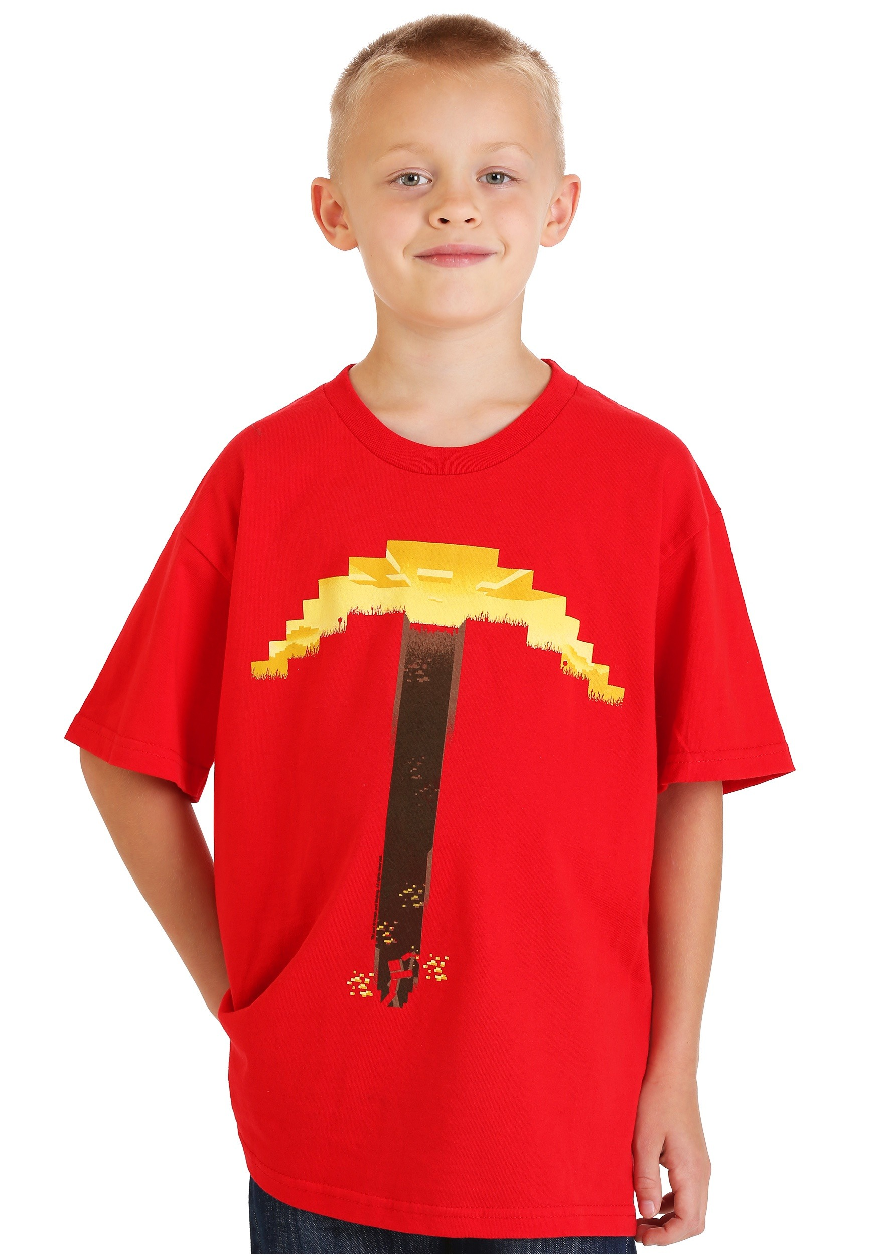Red T-shirt Minecraft Digitized Pickaxe