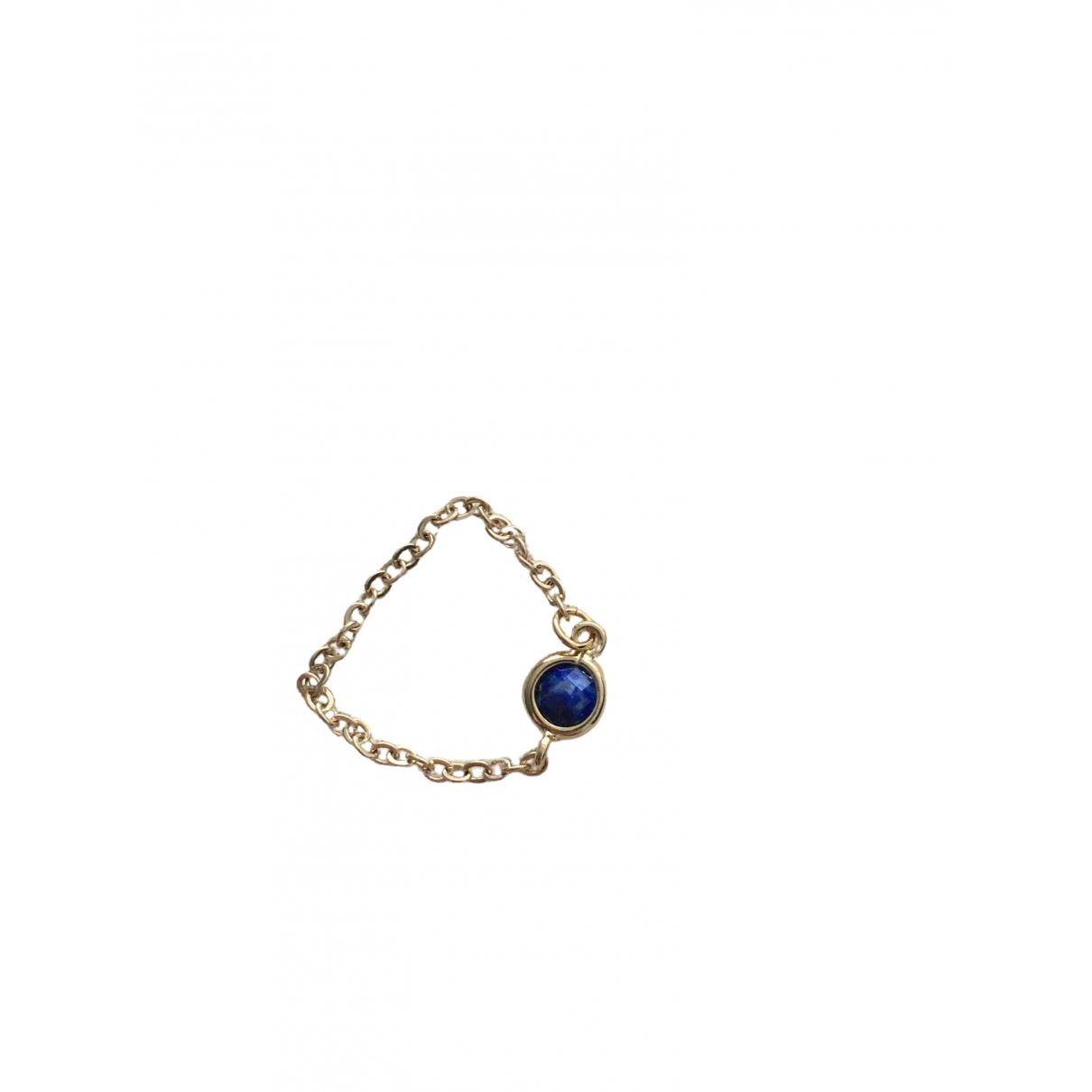- Bague Lapis lazuli pour femme en plaque or - dore