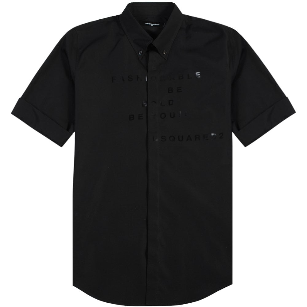 Dsquared2 Graphic Print Three Quarter Sleeve Shirt Black Colour: BLACK, Size: LARGE