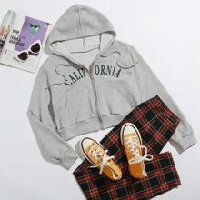 Letter Graphic Zipper Front Drawstring Crop Hoodie