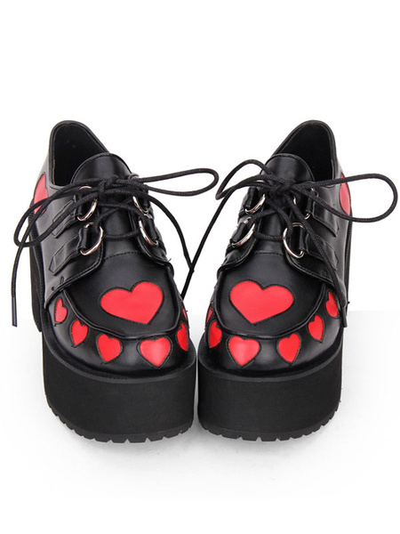 Milanoo Punk Lolita Footwear Sweetheart Two Tone Lace Up PU Black Lolita Shoes