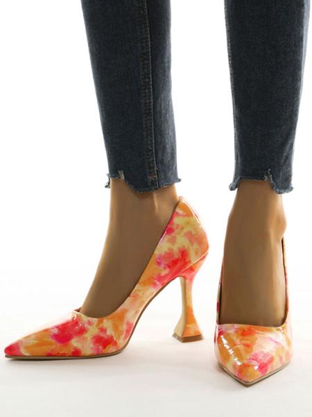 Milanoo Tacones altos para mujer, puntiagudos, estampados, elegantes tacones caliz de cuero PU rojo