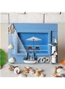 Oceanic Style Wood High Definition Glass Desktop Photo Frame(Three Colors)