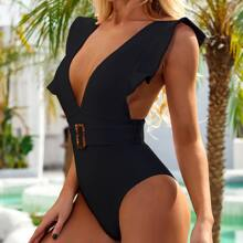 Ruffle Plunging One Piece Swimsuit