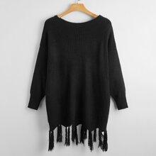 Plus Drop Shoulder Fringe Hem Sweater