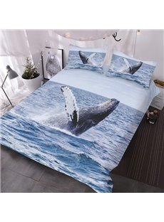 Sea whale Emerging From The Sea 3D Printed 3-Piece Polyester Comforter Sets