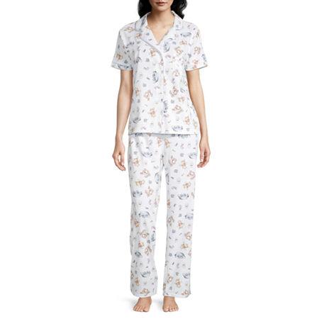 Womens Juniors Short Sleeve Pant Pajama Set 2-pc., Small , White