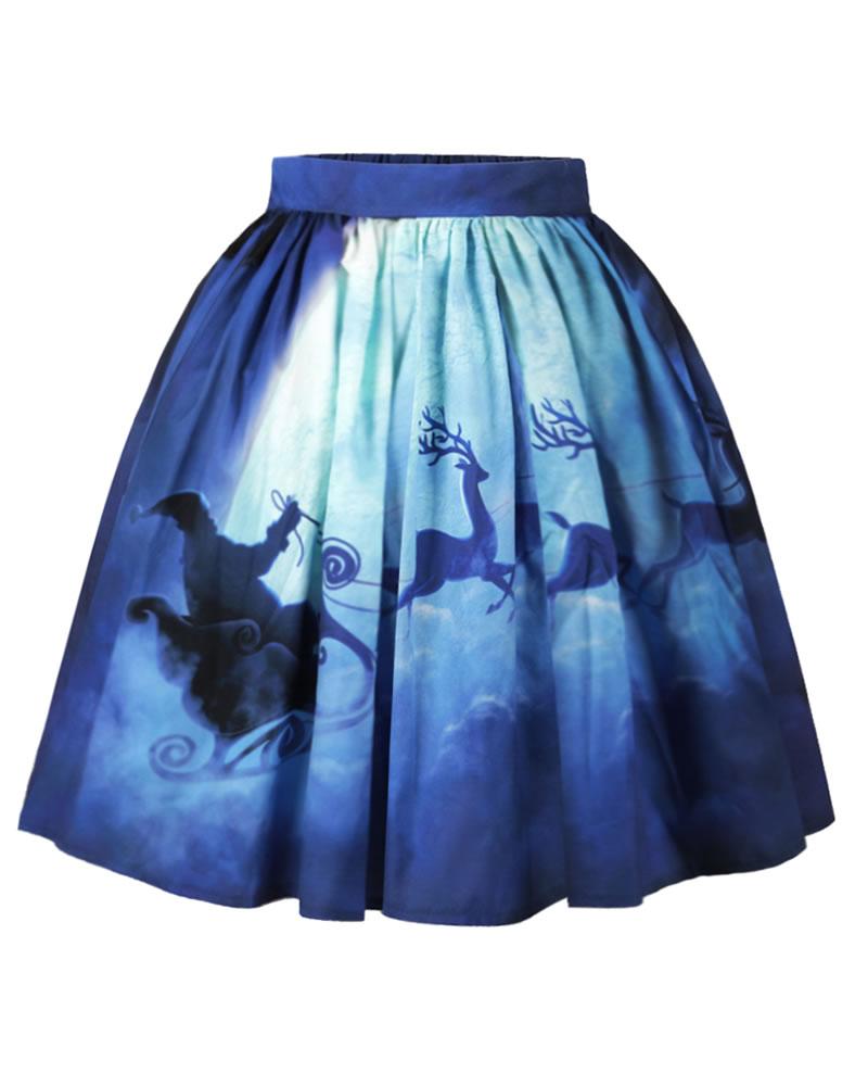 Ball Gown Knee-Length Christmas Flared Printed Midi Skirt