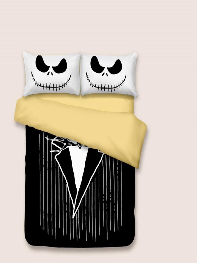 Vivilinen 3D Black Suit Printed Halloween Polyester 3-Piece Black Bedding Sets/Duvet Covers