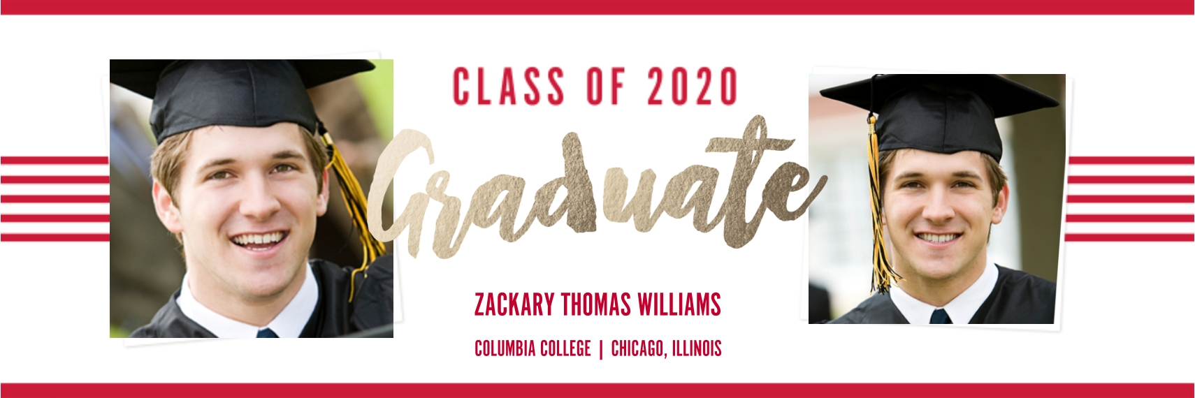 Graduation Vinyl Banner, 2x6, Home Décor -Collegiate Stripes Graduate