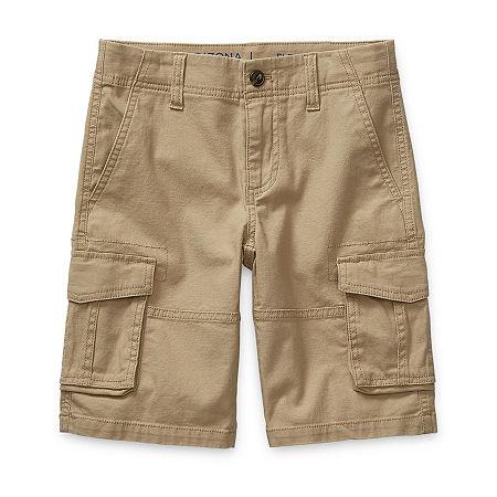 Arizona Little & Big Boys Adjustable Waist Cargo Short, 5 , Beige