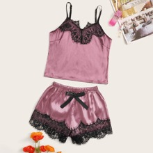 Cami Pajama Set mit Blumen Spitzen