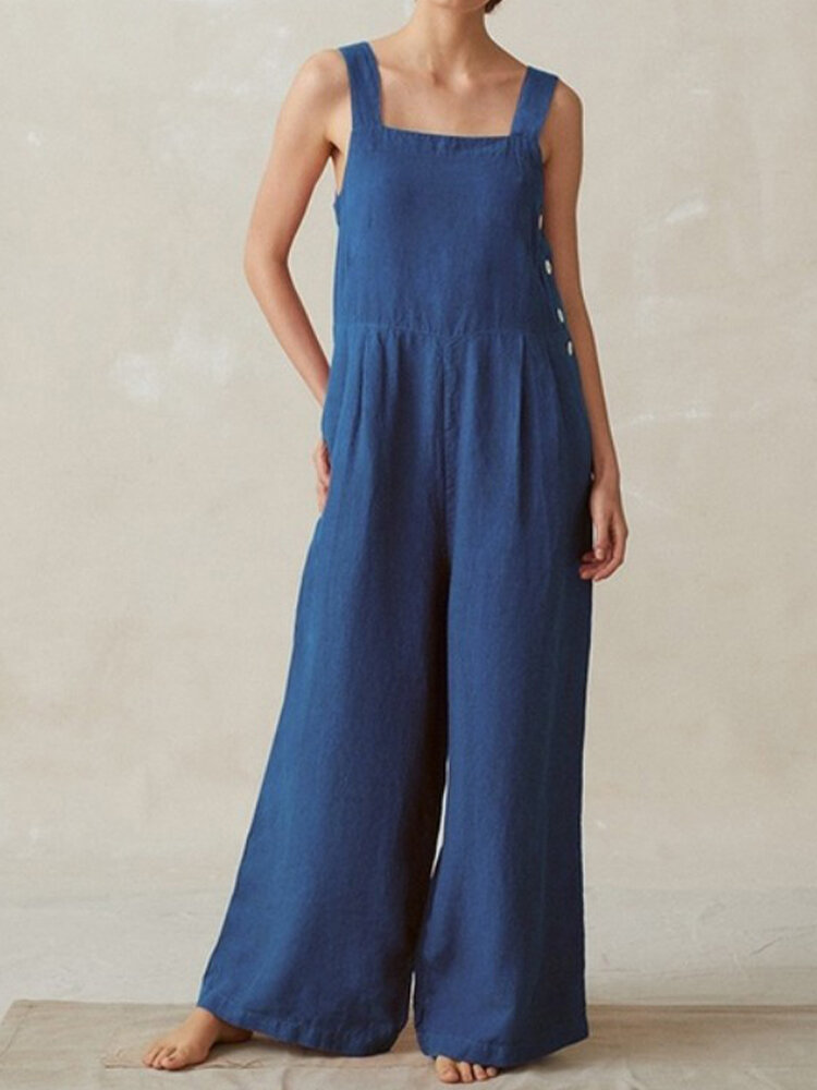 Side Button Solid Color Wide Leg Jumpsuit For Women