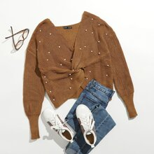 Drop Shoulder Twist Front Pearls Beaded Sweater