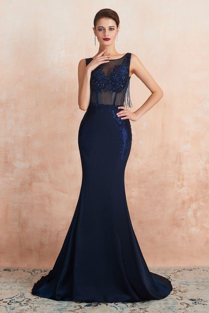 Caroline Carol | Vestido de fiesta de sirena azul marino con borla brillante, elegantes vestidos de noche sin mangas con espalda abierta