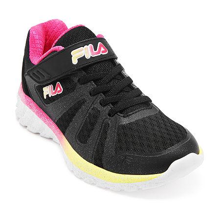 Fila Cryptonic 6 Strap Girls Running Shoes, 5 1/2 Medium, Black