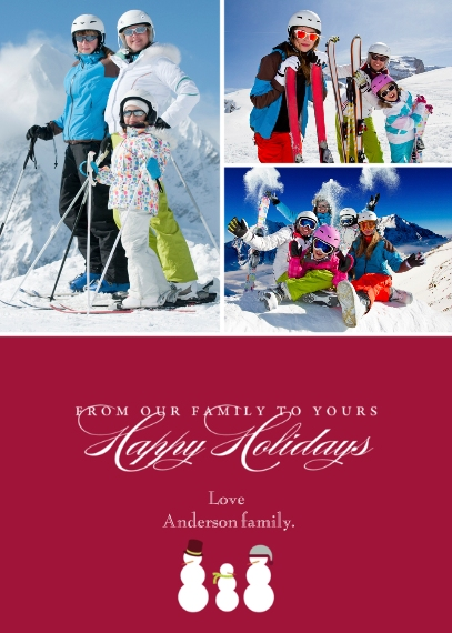 Holiday Photo Cards Mail-for-Me Premium 5x7 Folded Card , Card & Stationery -Snow Family