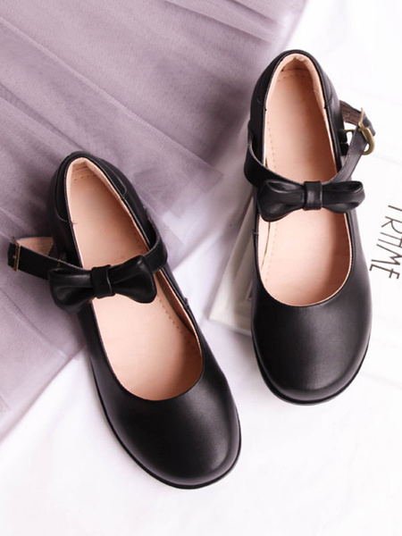Milanoo Sweet Lolita Mary Jane Shoes Bow Round Toe PU Lolita Pump