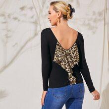 Umstandsmode T-Shirt mit Leopard Muster und Schleife Detail