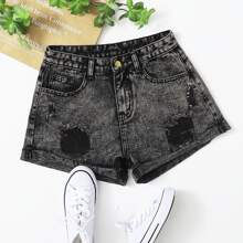 Shorts en denim Boton Liso Casual