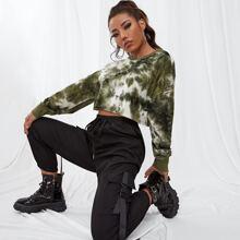 Crop Pullover mit Batik und sehr tief angesetzter Schulterpartie