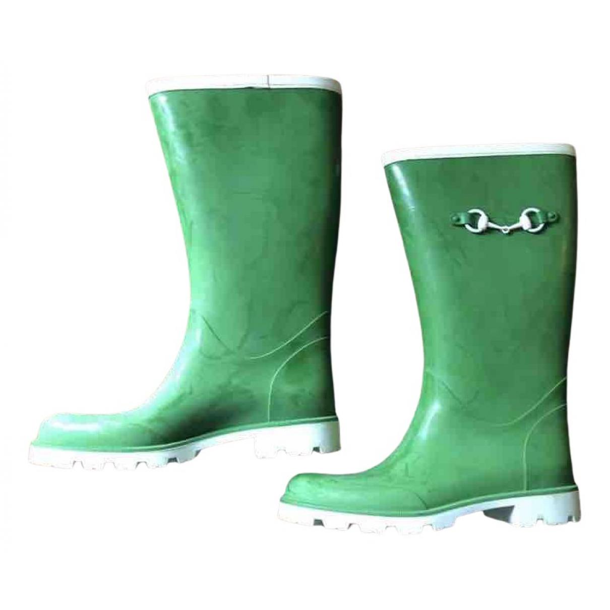 Gucci N Green Rubber Boots for Women 38 EU