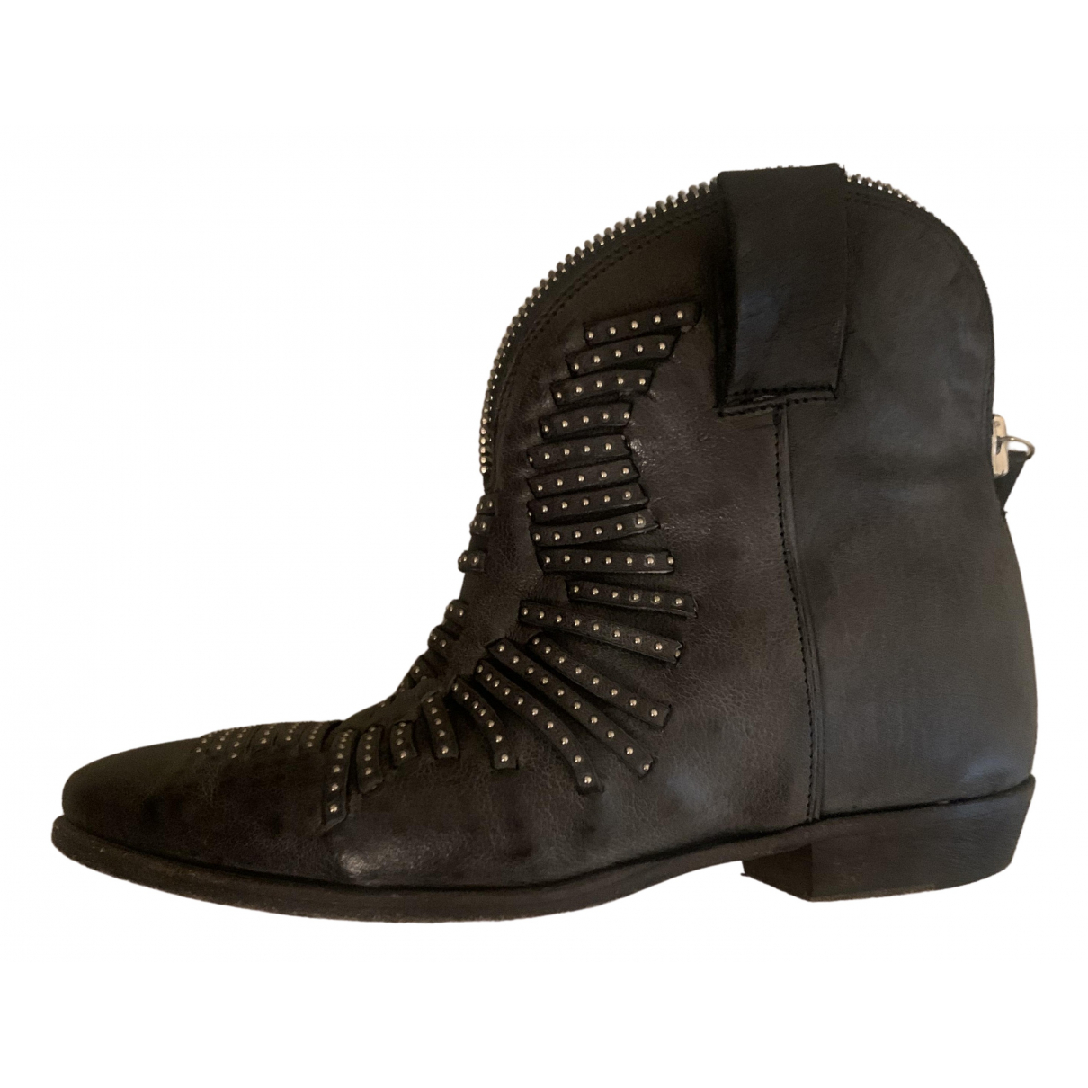 Cinzia Araia \N Anthracite Leather Ankle boots for Women 38 EU