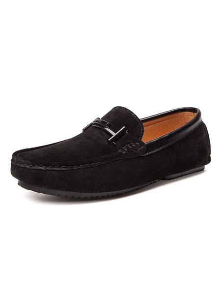 Milanoo Mens Brown Loafers with Pigskin Leather Round Toe Metal Detail Slip On Driving Shoes