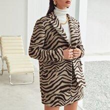 Blazer mit eingekerbtem Kragen und Zebra Streifen