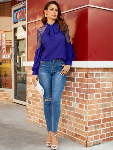 YOINS Navy Lace Tie-up Design Long Sleeves Blouse